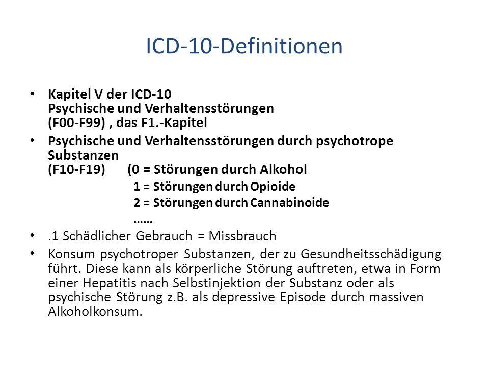 ICD-10-Definitionen Kapitel V der ICD-10 Psychische und Verhaltensstörungen (F00-F99) , das F1.-Kapitel.