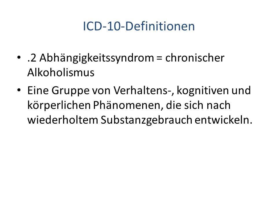 ICD-10-Definitionen .2 Abhängigkeitssyndrom = chronischer Alkoholismus