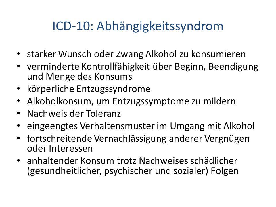 ICD-10: Abhängigkeitssyndrom