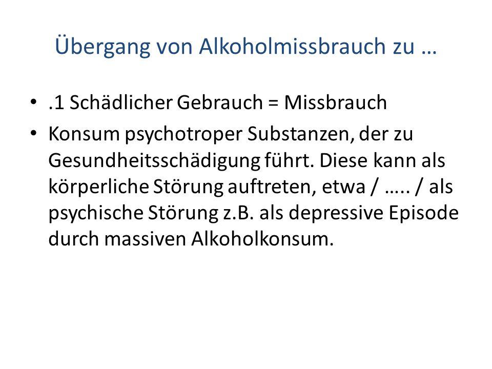 Übergang von Alkoholmissbrauch zu …