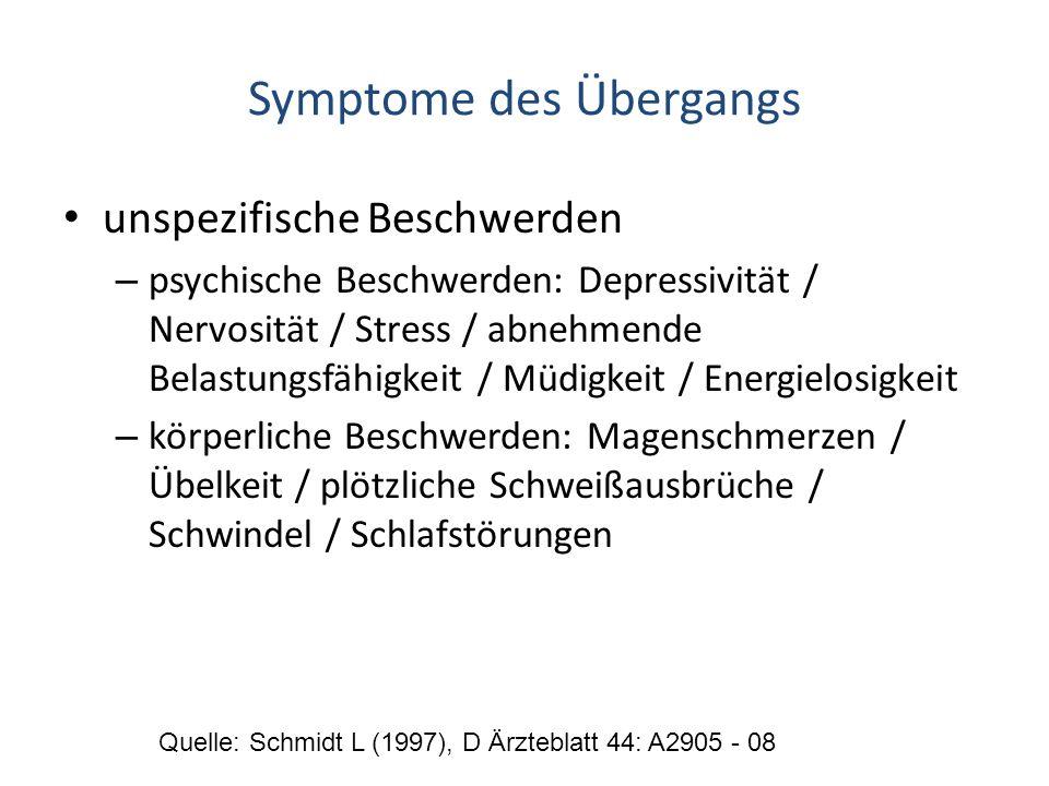 Symptome des Übergangs