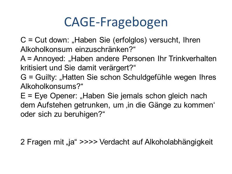 """CAGE-Fragebogen C = Cut down: """"Haben Sie (erfolglos) versucht, Ihren Alkoholkonsum einzuschränken"""