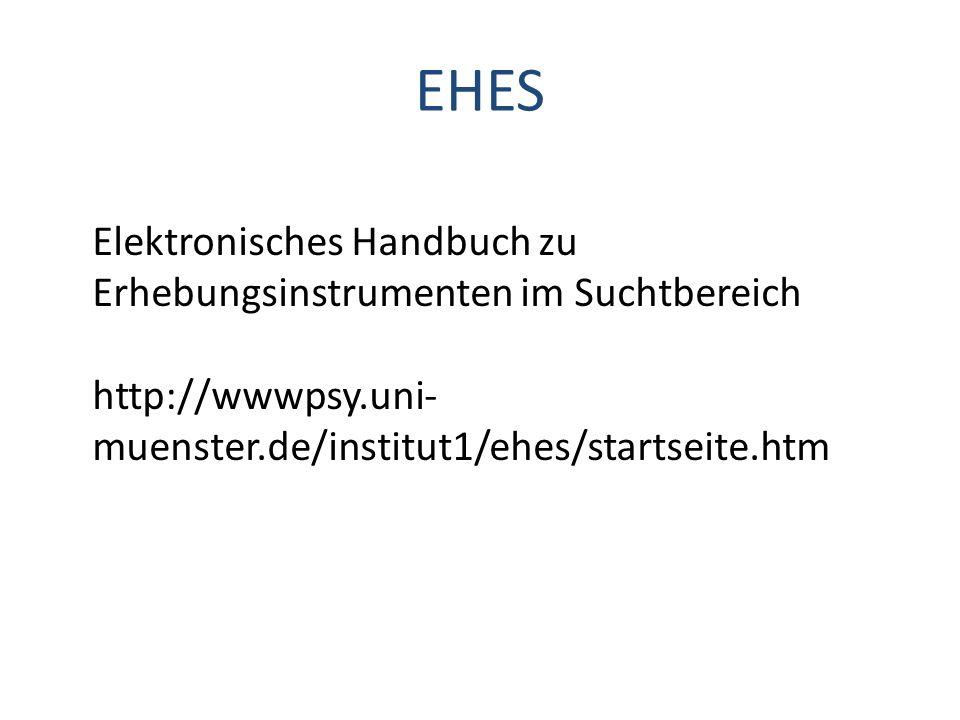 EHES Elektronisches Handbuch zu Erhebungsinstrumenten im Suchtbereich