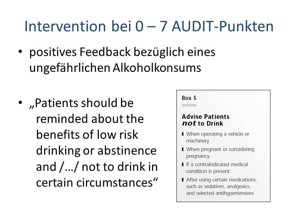 Intervention bei 0 – 7 AUDIT-Punkten