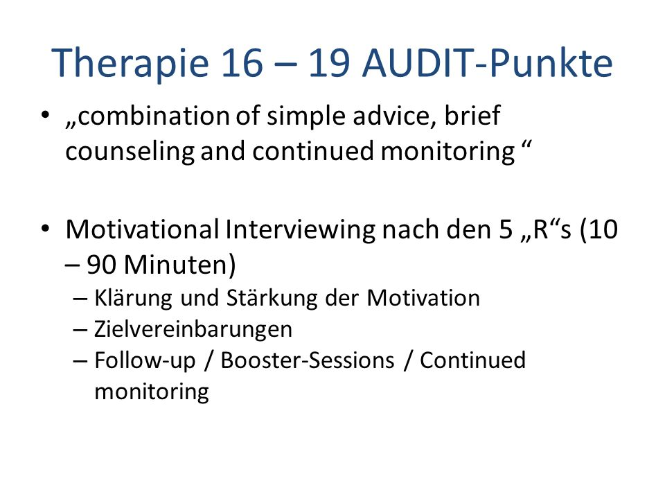Therapie 16 – 19 AUDIT-Punkte