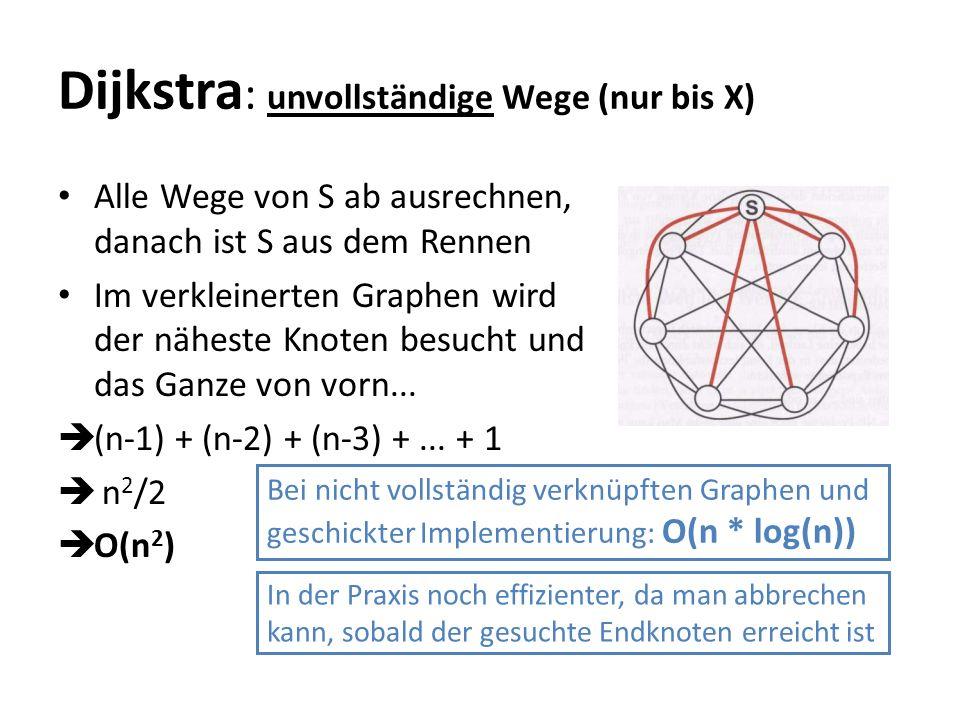 Dijkstra: unvollständige Wege (nur bis X)