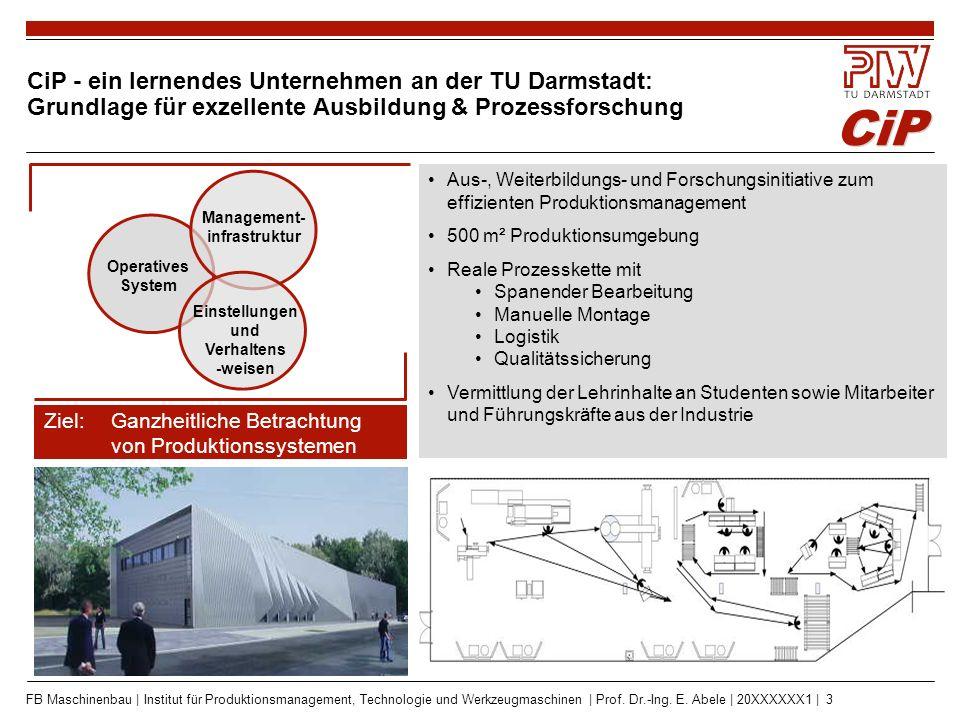 CIP - ein lernendes Unternehmen an TU Darmstadt: Fertigung und Montage von Industrieprodukten