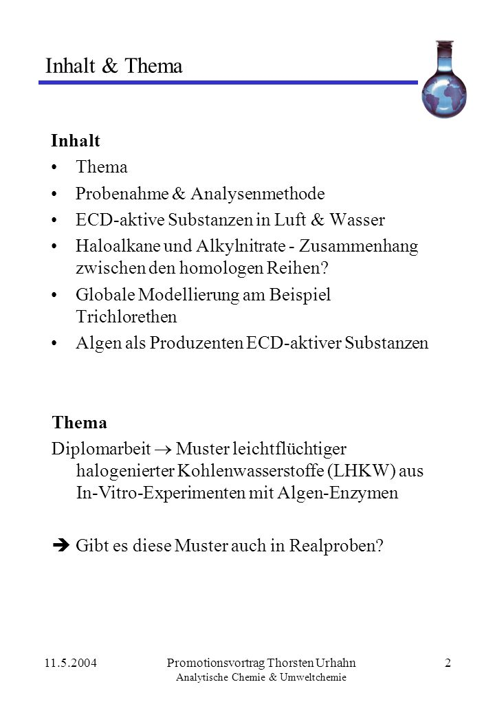 Inhalt & Thema Inhalt Thema Probenahme & Analysenmethode