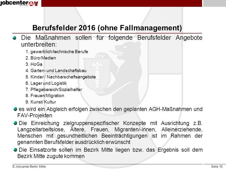 Berufsfelder 2016 (ohne Fallmanagement)