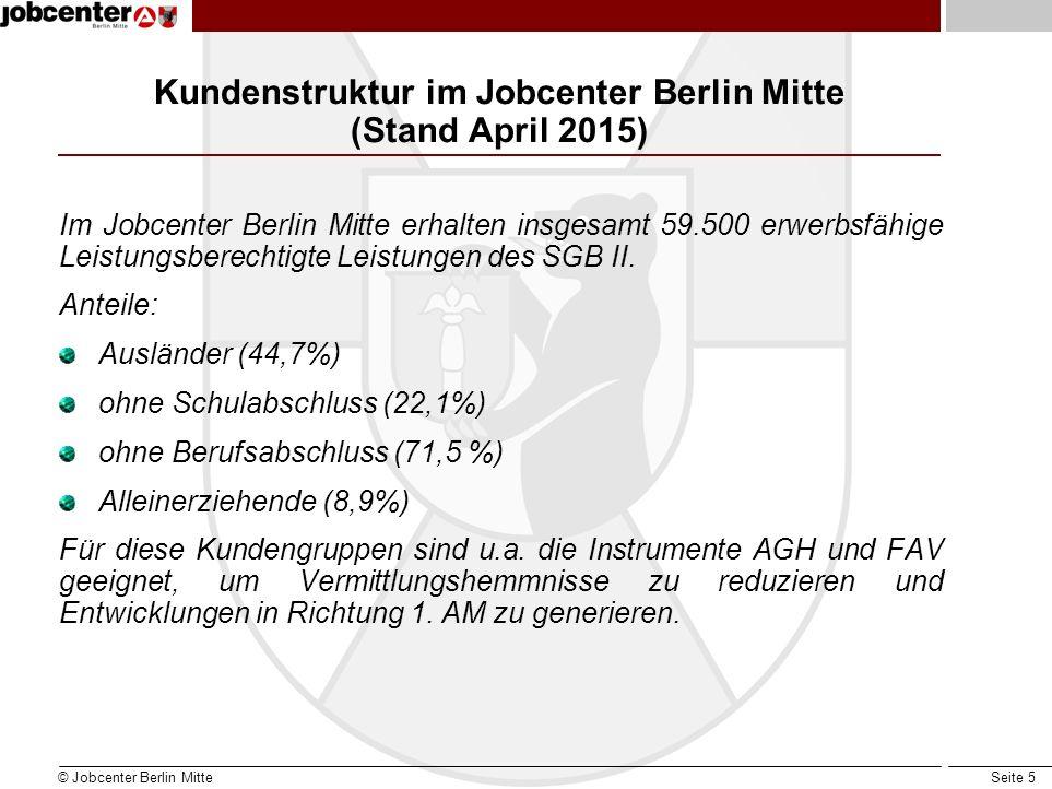 Kundenstruktur im Jobcenter Berlin Mitte (Stand April 2015)