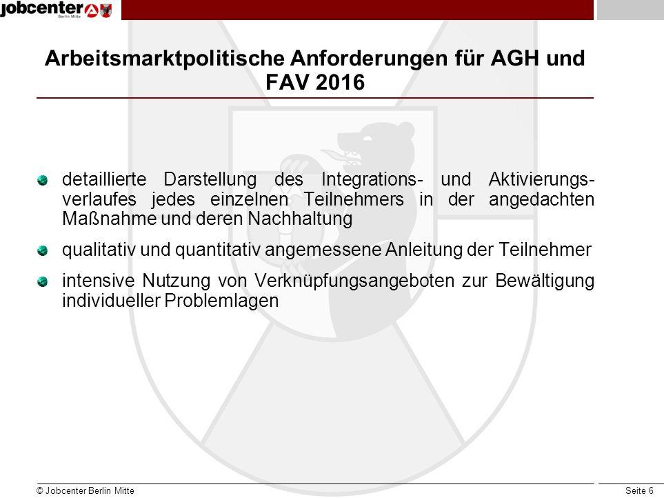 Arbeitsmarktpolitische Anforderungen für AGH und FAV 2016