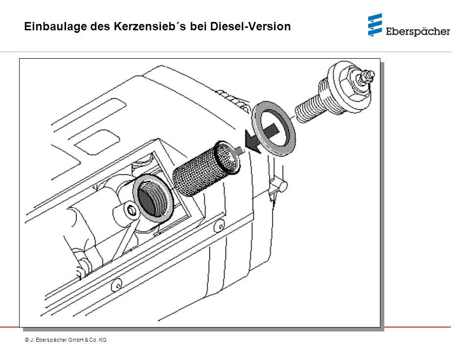 Einbaulage des Kerzensieb´s bei Diesel-Version