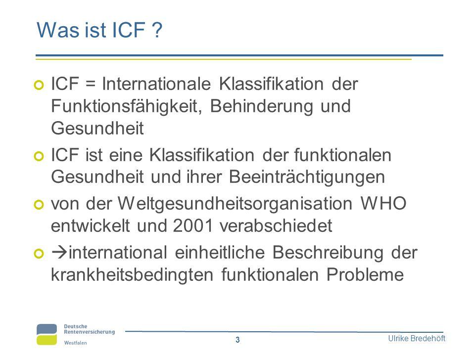 Was ist ICF ICF = Internationale Klassifikation der Funktionsfähigkeit, Behinderung und Gesundheit.