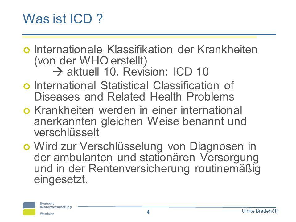 Was ist ICD Internationale Klassifikation der Krankheiten (von der WHO erstellt)  aktuell 10. Revision: ICD 10.