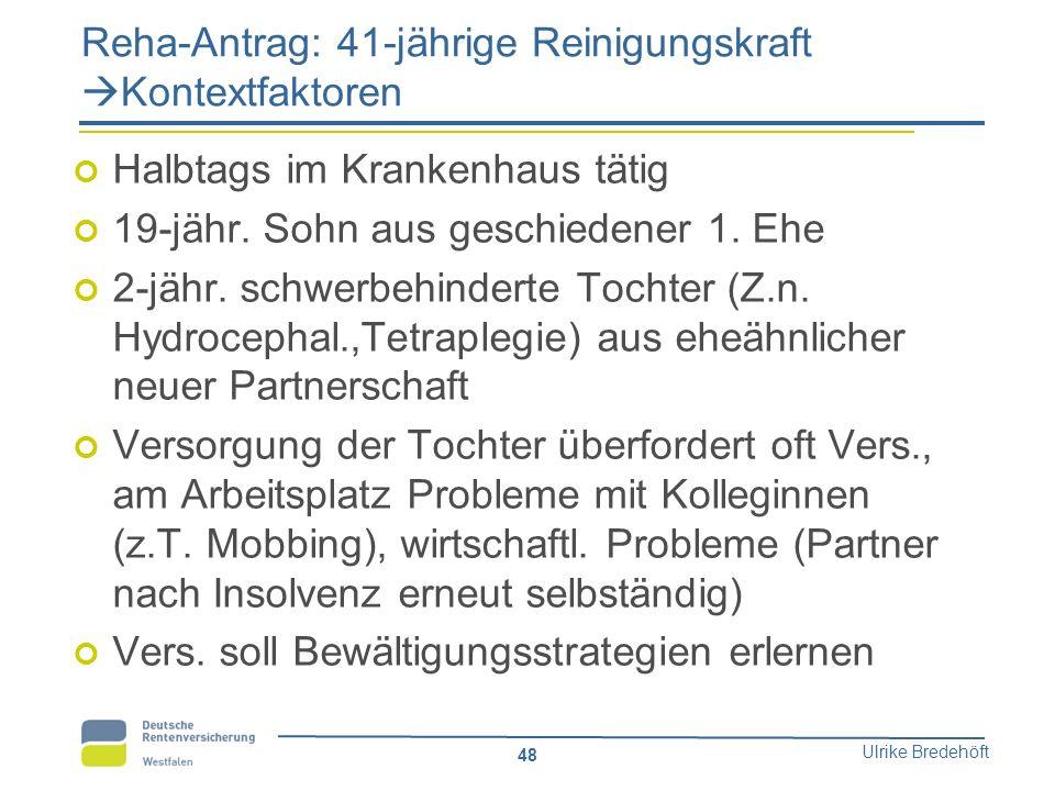 Reha-Antrag: 41-jährige Reinigungskraft Kontextfaktoren