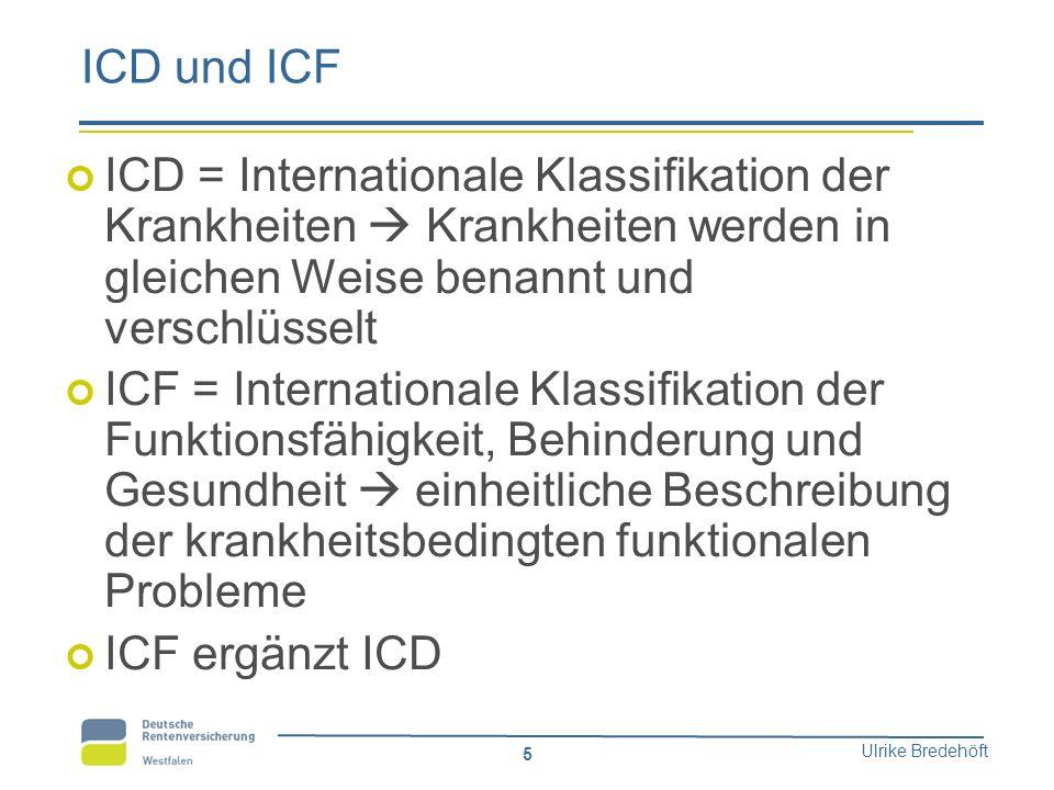 ICD und ICF ICD = Internationale Klassifikation der Krankheiten  Krankheiten werden in gleichen Weise benannt und verschlüsselt.