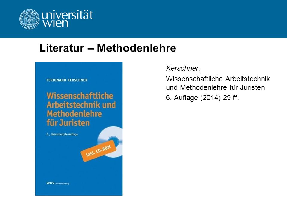 Literatur – Methodenlehre