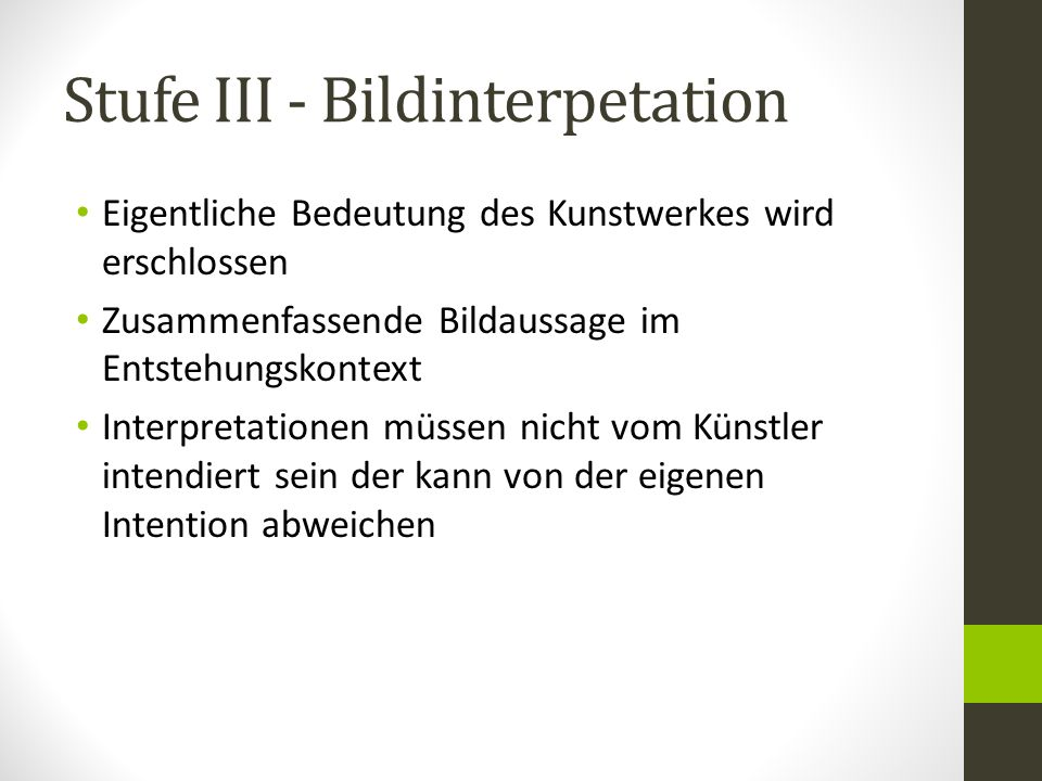 Stufe III - Bildinterpetation