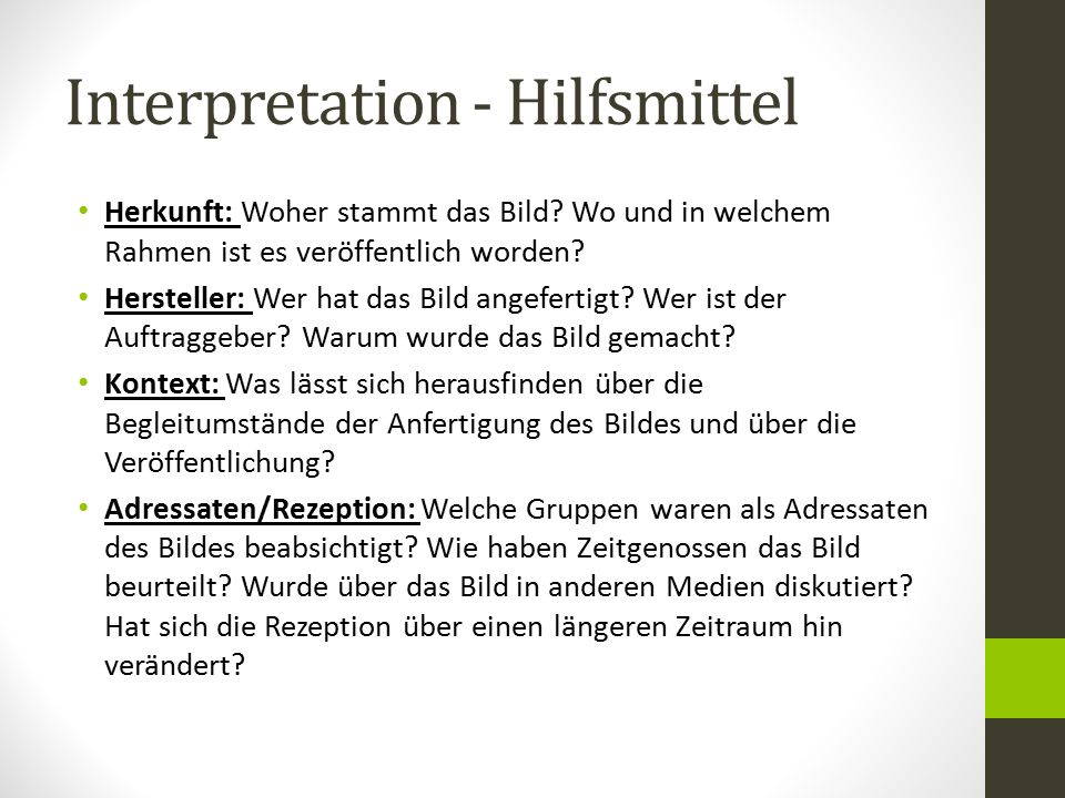 Interpretation - Hilfsmittel