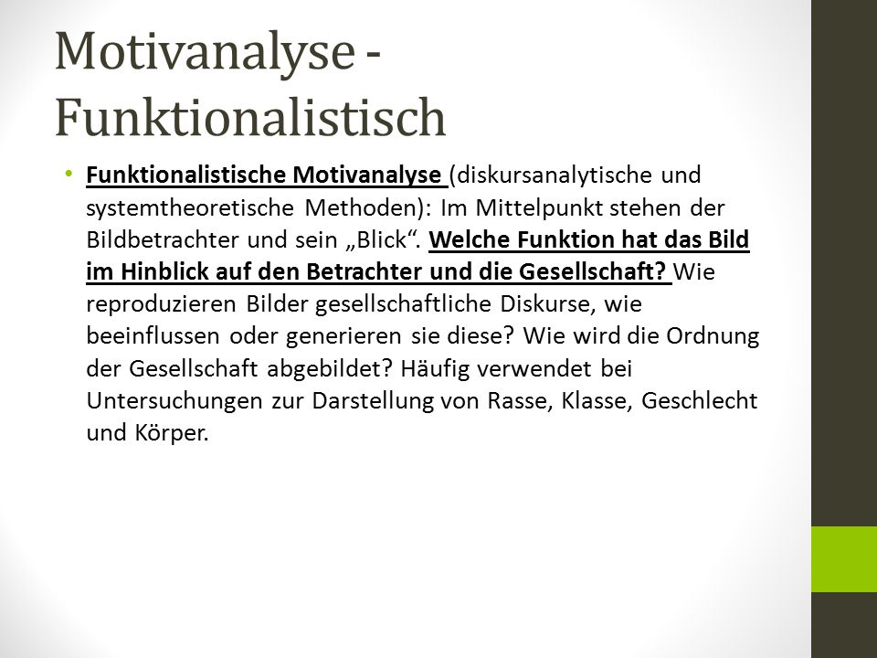 Motivanalyse - Funktionalistisch
