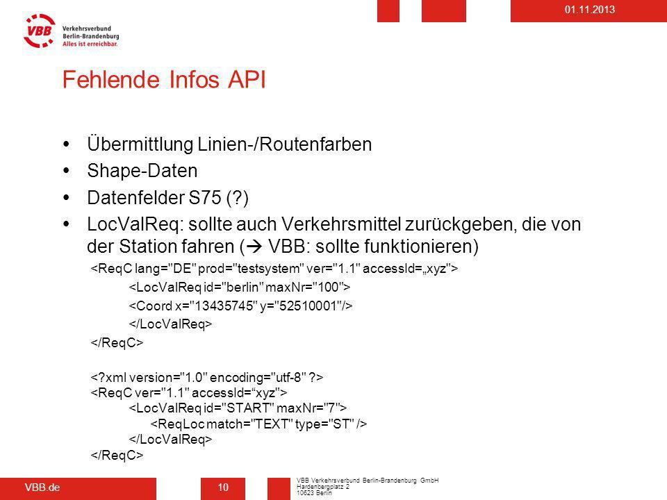 Fehlende Infos API Übermittlung Linien-/Routenfarben Shape-Daten