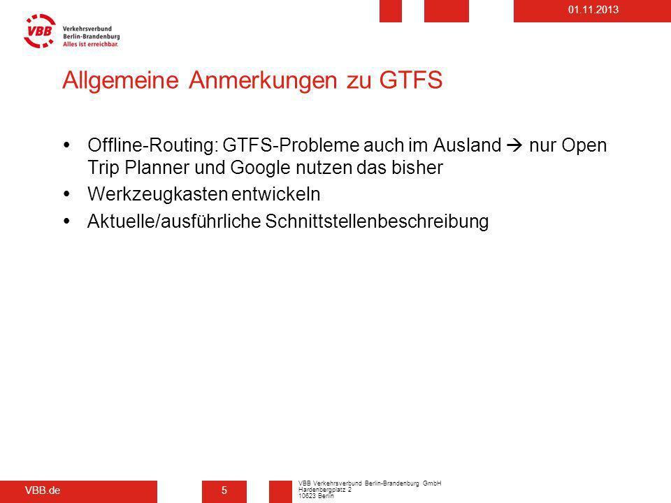Allgemeine Anmerkungen zu GTFS