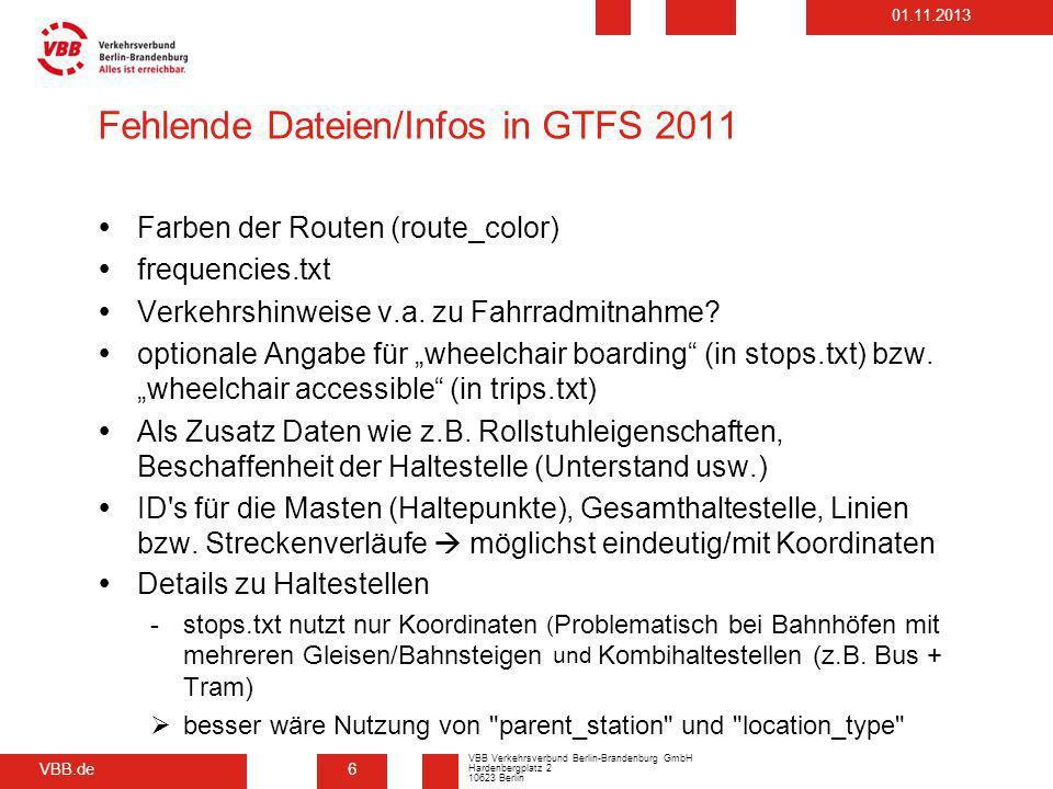 Fehlende Dateien/Infos in GTFS 2011