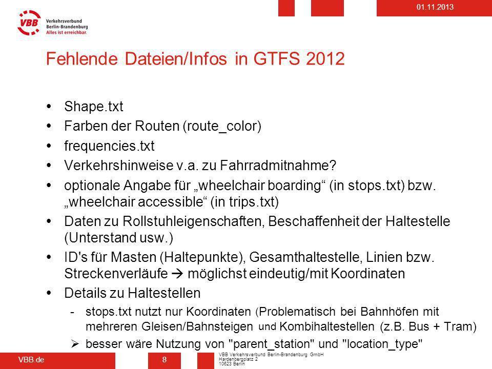 Fehlende Dateien/Infos in GTFS 2012