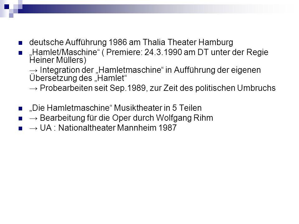 deutsche Aufführung 1986 am Thalia Theater Hamburg