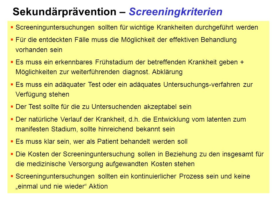 Sekundärprävention – Screeningkriterien