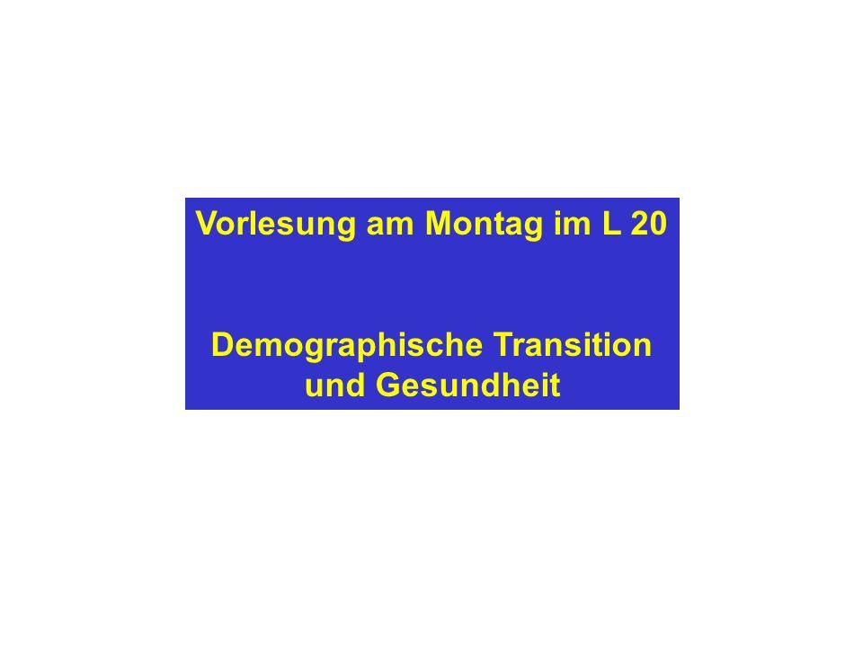 Vorlesung am Montag im L 20 Demographische Transition