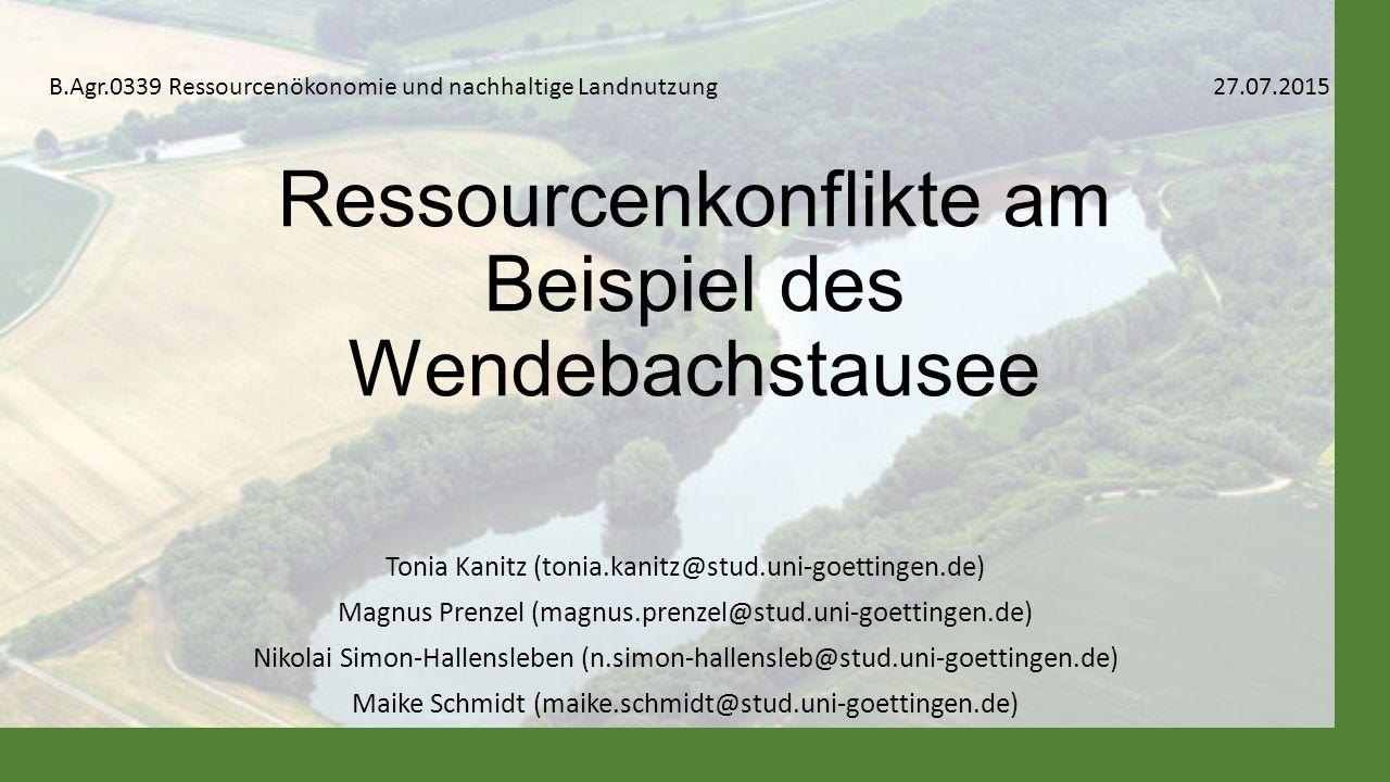 Ressourcenkonflikte am Beispiel des Wendebachstausee
