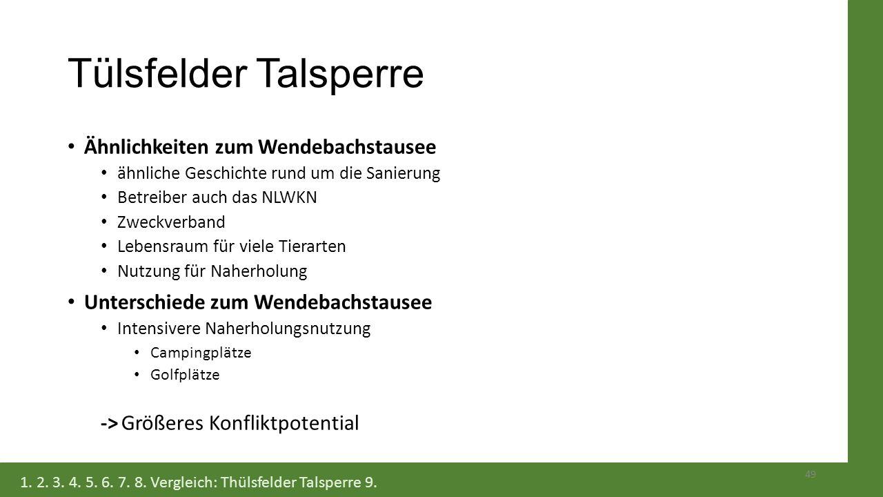 Tülsfelder Talsperre Ähnlichkeiten zum Wendebachstausee