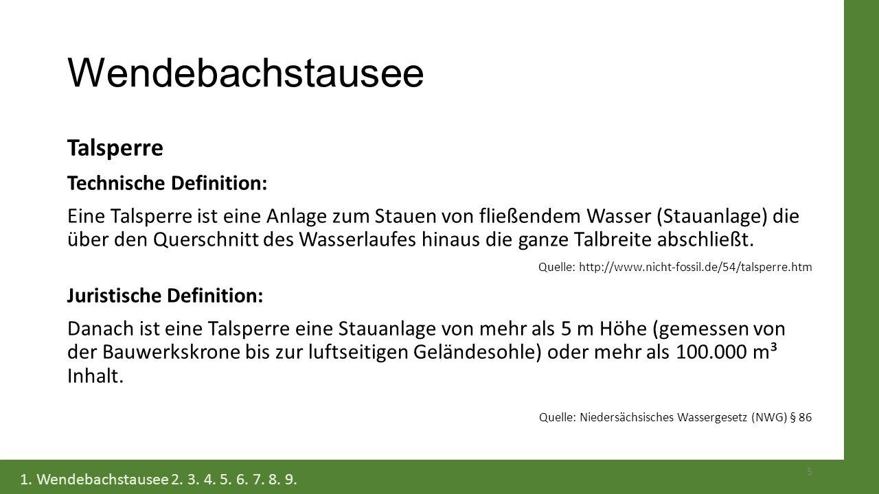 Wendebachstausee Talsperre Technische Definition: