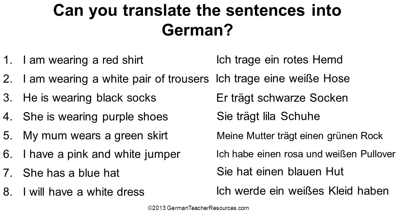 Can you translate the sentences into German