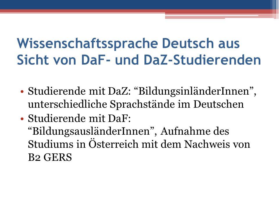Wissenschaftssprache Deutsch aus Sicht von DaF- und DaZ-Studierenden