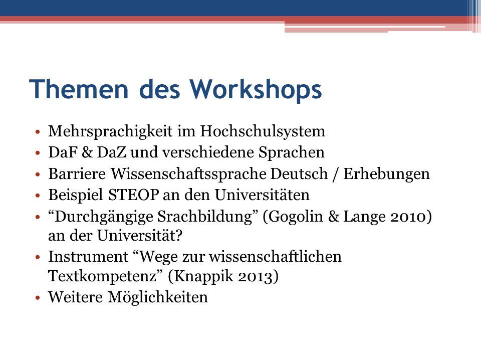 Themen des Workshops Mehrsprachigkeit im Hochschulsystem