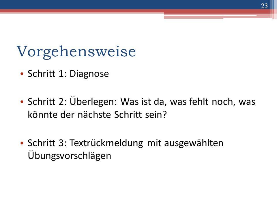 Vorgehensweise Schritt 1: Diagnose