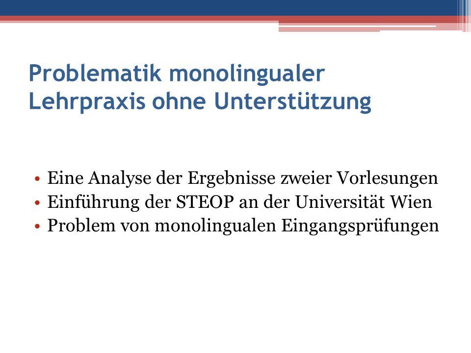 Problematik monolingualer Lehrpraxis ohne Unterstützung