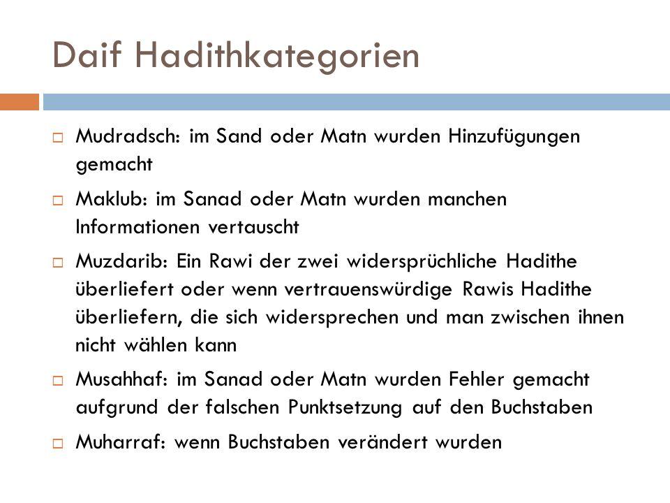 Daif Hadithkategorien