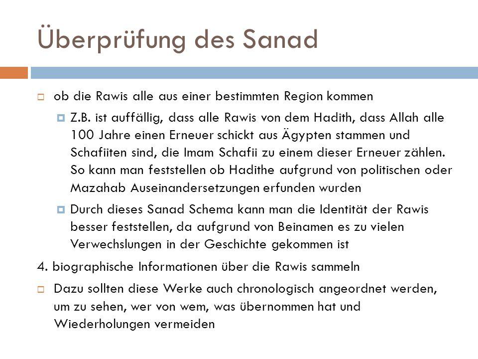 Überprüfung des Sanad ob die Rawis alle aus einer bestimmten Region kommen.