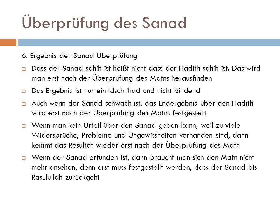 Überprüfung des Sanad 6. Ergebnis der Sanad Überprüfung