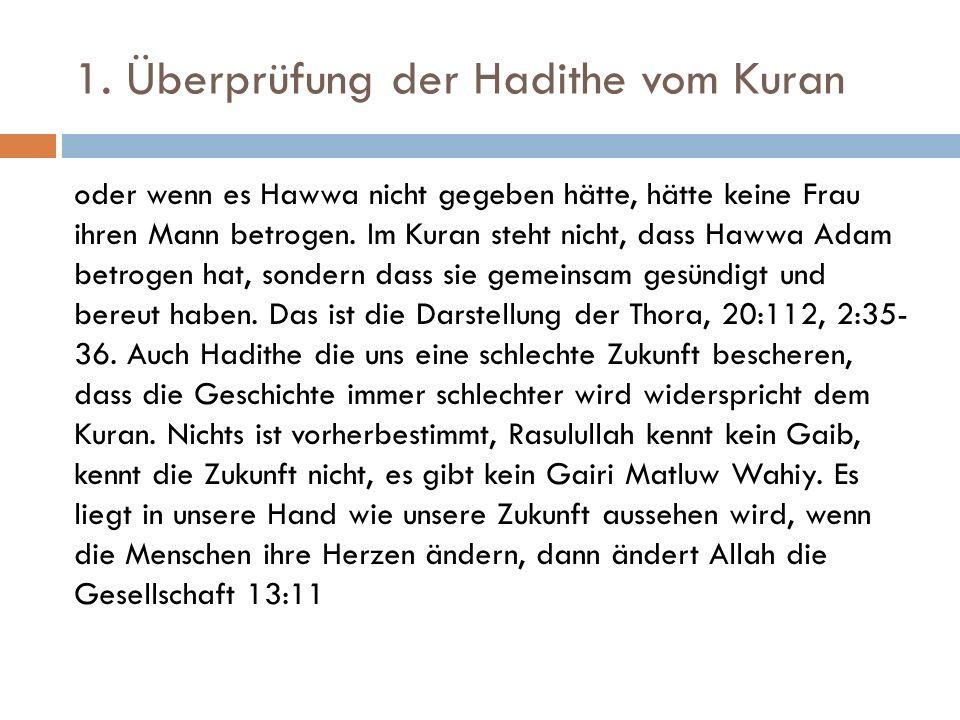 1. Überprüfung der Hadithe vom Kuran