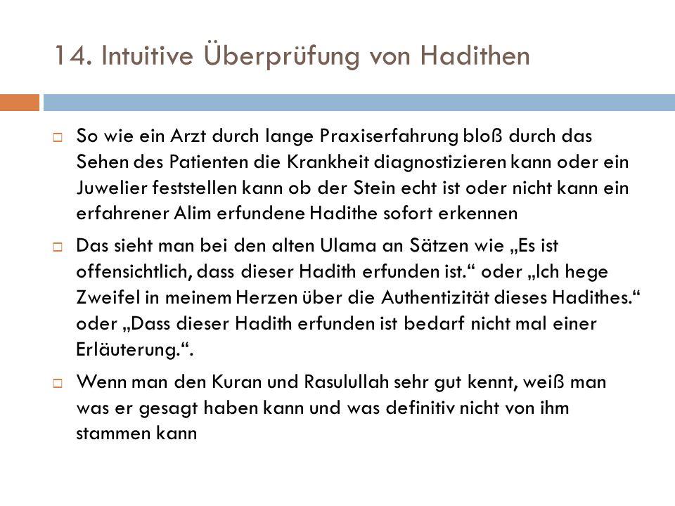 14. Intuitive Überprüfung von Hadithen