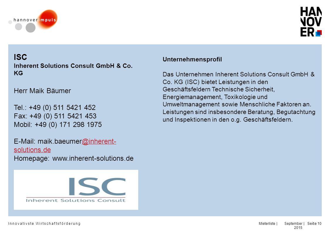 ISC Herr Maik Bäumer Tel.: +49 (0) 511 5421 452
