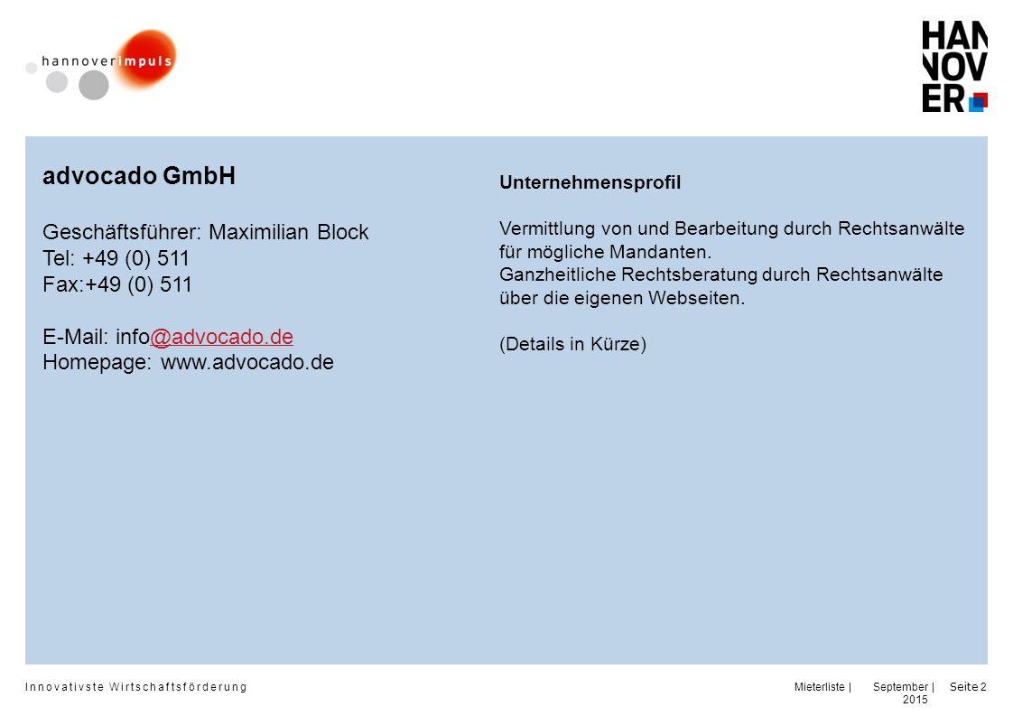 advocado GmbH Geschäftsführer: Maximilian Block Tel: +49 (0) 511