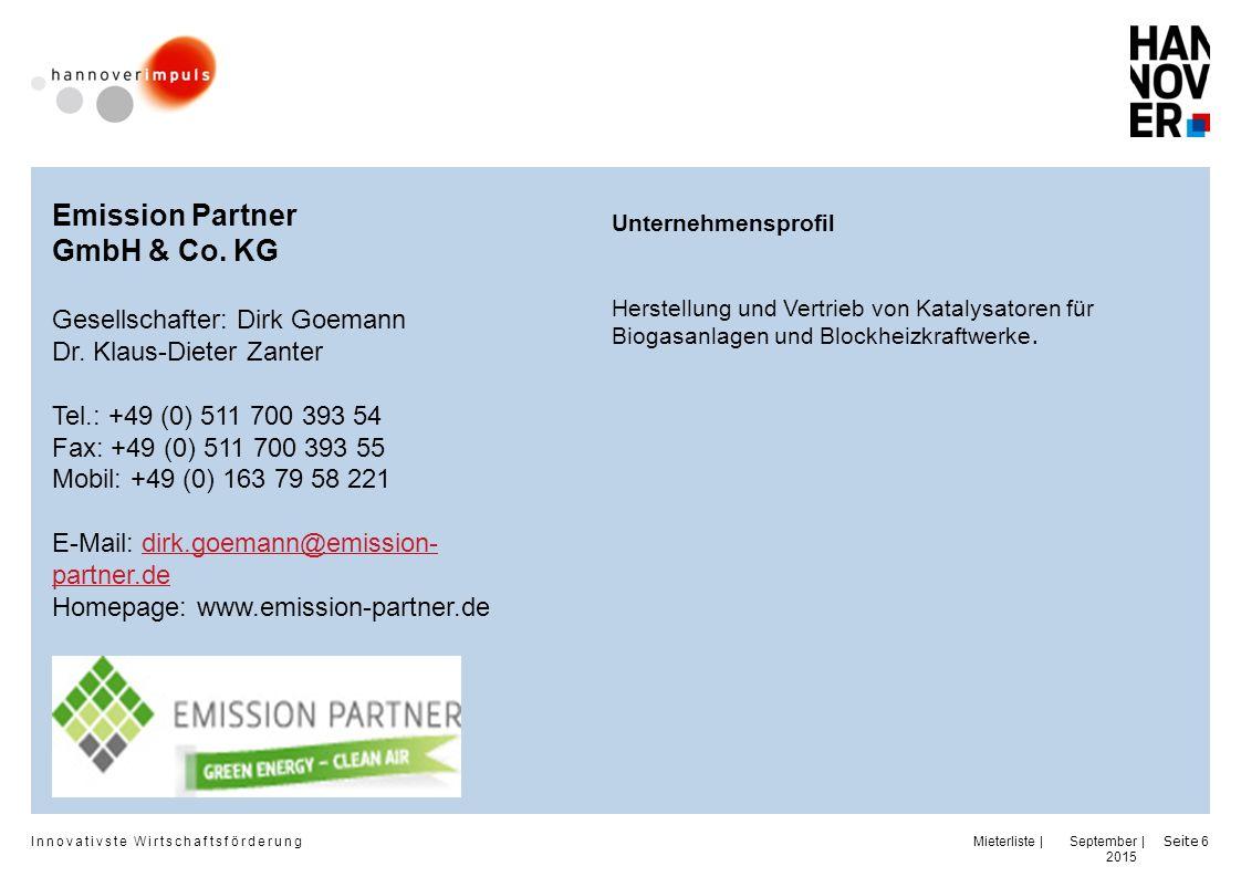 Emission Partner GmbH & Co. KG Gesellschafter: Dirk Goemann