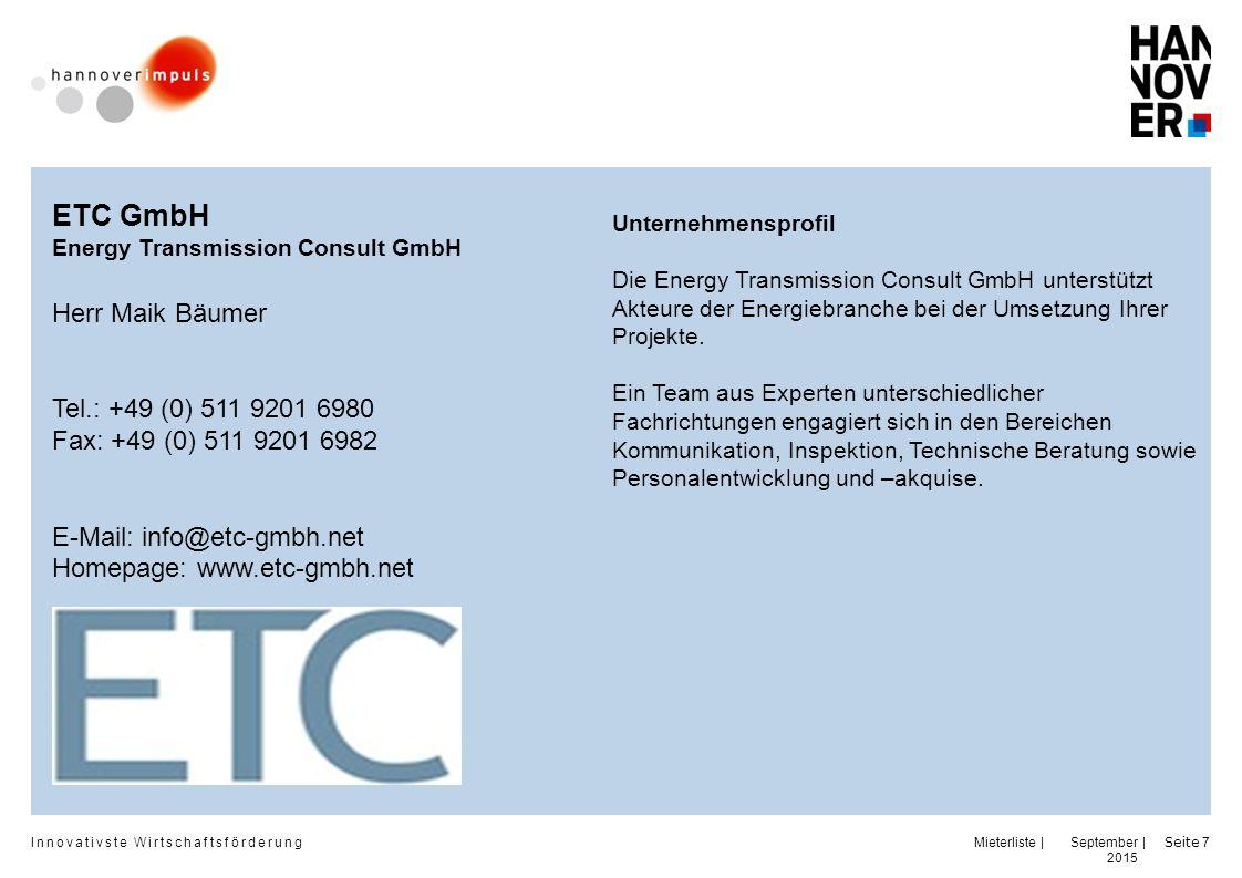 ETC GmbH Herr Maik Bäumer Tel.: +49 (0) 511 9201 6980