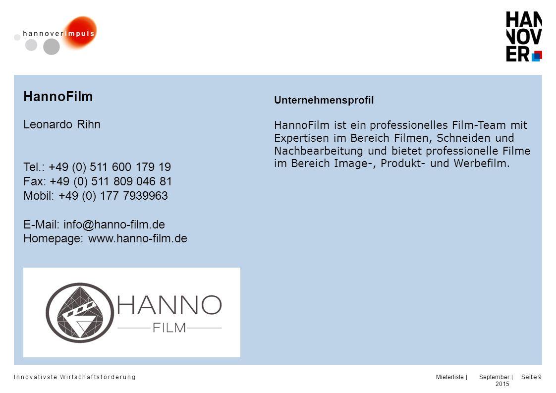 HannoFilm Leonardo Rihn Tel.: +49 (0) 511 600 179 19