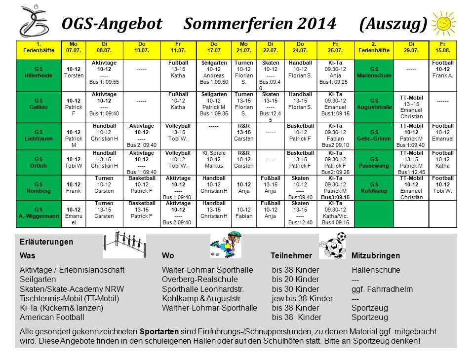 OGS-Angebot Sommerferien 2014 (Auszug)